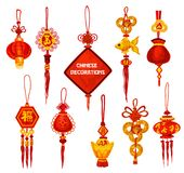 Chinese New Year ornament icon of lantern and coin. Chinese New Year ornament icon set. Oriental red lantern and lucky knot decoration with fortune coin and stock illustration