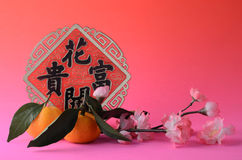 Chinese New Year ornament and tangerines Royalty Free Stock Images