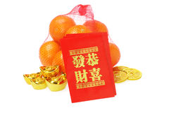 Chinese New Year Ornaments and Oranges Stock Photos