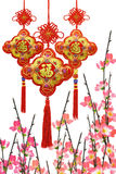 Chinese New Year ornaments and plum blossom Stock Photos