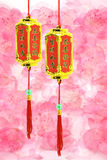 Chinese New Year ornaments - Prosperity lanterns. On plum blossoms floral background vector illustration