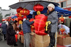 Chinese New Year Outdoor Market Stock Image