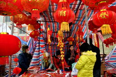 Chinese New Year Outdoor Market Royalty Free Stock Image