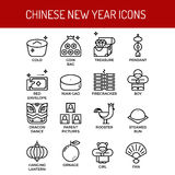Chinese new year outline icons Stock Photography