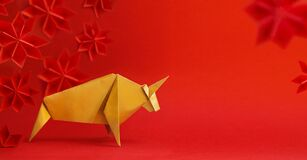 Chinese new year 2021 year of the ox , cold. Bull on red background.