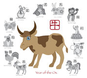 Chinese New Year Ox Color with Twelve Zodiacs Vector Illustration Stock Image