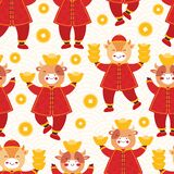 Chinese new year 2021 ox. Seamless pattern cute baby bulls in traditional red Chinese clothes with gold coins and bars. Orient