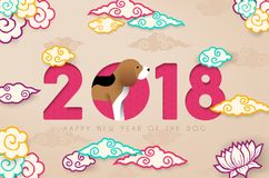 Chinese new year 2018 paper cut beagle dog card Stock Image