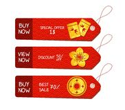 Chinese new year. Paper labels set for sale Royalty Free Stock Images