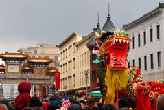 Chinese New Year Parade. This is a photo of the Chinese New Year Parade taken place in Washington, DC's Chinatown Royalty Free Stock Photography