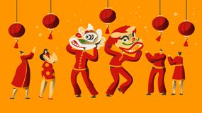 Chinese New Year Parade Character. Man Dance in Dragon Costume for China Holiday Celebration. Asian Traditional Festival. Chinese New Year Parade Character Set royalty free illustration
