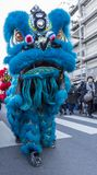 Chinese New Year Parade - The Year of the Dog, 2018. Noisy-le-Grand, France - February 18,2018: The blue Chinese Lion performing in the street during the Chinese stock photo