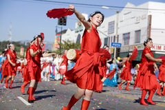 Chinese New Year Parade Fan Ladies 3 Royalty Free Stock Photo
