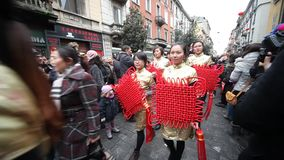 Chinese New Year parade in Milan 2014 stock video footage