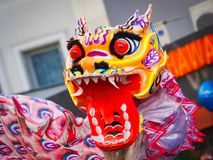 Chinese new year 2019 Paris France - dragon dancing royalty free stock image