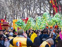 Chinese new year 2019 Paris France - dragon dancing royalty free stock photos