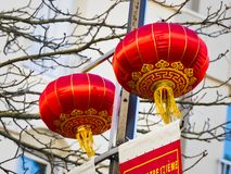 Chinese new year 2019 Paris France. PARIS, FRANCE - FEBRUARY 17, 2019. Last day of the chinese new year celebration festival in street. Lanterns flags red stock image