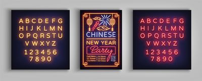 Chinese New Year 2018 Party poster. Design brochure template, neon vibrant banner, flyer, greeting card, an invitation Royalty Free Stock Photography