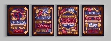 Chinese New Year 2018 Party poster set. Collection Neon signs, bright poster, bright banner, night neon sign, invitation Royalty Free Stock Image