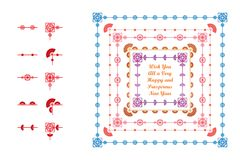 Chinese New Year pattern brush line frame style. This illustration is design Chinese New Year pattern brush line frame style on white color background