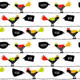 Chinese New Year pattern with color roosters on wires. Royalty Free Stock Photo
