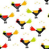 Chinese New Year pattern with roosters and grain rice. Stock Photos