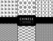 Chinese New Year pattern PRINT set. Chinese New Year pattern set. New Chinese luxury background. Asian traditional seamless black and white pattern with Stock Photo