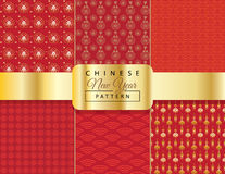 Chinese New Year pattern set. Chinese New Year red pattern set. New Chinese luxury background. Asian traditional elements and symbols ornamental seamless red Royalty Free Stock Photography