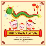 Chinese New Year of the Pig Year Greeting Card for Celebration. A Chinese New Year of the Pig Year Greeting Card for Celebration vector illustration