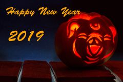 2019 Chinese New Year of the Pig. Jack`s lamp, stylized under the head of a pig. Dark background vector illustration