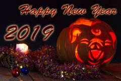 2019 Chinese New Year of the Pig. Jack`s lamp, stylized under the head of a pig. Dark background stock illustration