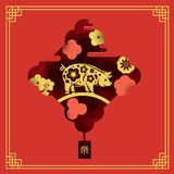 Chinese New Year 2019. Year of Pig. Paper cut style. stock illustration