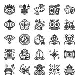 Chinese new year pixel perfect icons. Vector editable stroke