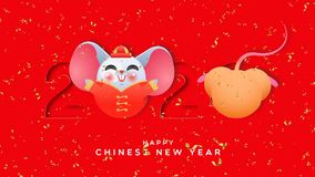 Chinese new year 2020 playing rat cutout animation