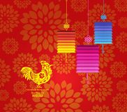 Chinese New Year  2017. Plum blossom and rooster background Royalty Free Stock Photography