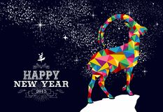 Chinese New year 2015 poster design. Happy new year 2015 greeting card or poster design with colorful triangle chinese goat shape and vintage label illustration Stock Photos