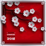 2018 chinese new year poster, red background with traditional sakura cherry flowers on tree branches, clouds, pattern oriental bac Stock Photography