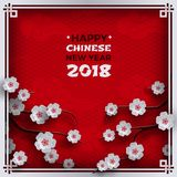 2018 chinese new year poster, red background with traditional sakura cherry flowers on tree branches, clouds, pattern oriental Stock Photos