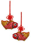 Chinese New Year prosperity fish ornaments. On white background stock images