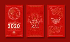 Chinese New Year Rat 2020 Gold Moon Red Card Set Stock Image
