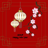 Chinese new year. Red background for 2017 Chinese new year. Vector illustration. Black lettering 2017 new year, blossom branch and lanterns Royalty Free Illustration