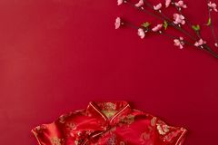 Chinese new year 2019 red backgroung. flat lay. Decorating Design Chinese new year 2019 red backgroung. with blessing text mean happy ,healthy and wealth. mean royalty free stock image