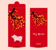 Chinese New Year red envelope flat icon, year of the pig 2019.  vector illustration