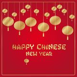 Chinese New Year red and gold vector background stock image