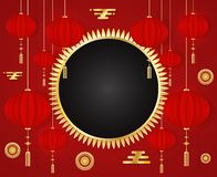 Chinese New Year 2019 red greeting card Template with traditional Asian decoration and gold elements on red background. Flyers, invitation, posters, brochure