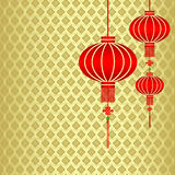 Chinese New Year Red Lantern Background. Red Chinese Lantern on Seamless Pattern Background Royalty Free Stock Photos