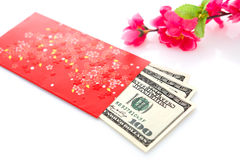 Chinese new year red packet. Chinese new year festival decorations on white background, red packet or ang pow is given to children and elders during chinese new Royalty Free Stock Photo