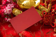 Chinese new year red packet. Chinese new year festival decorations, blank red packet with copy space ready for text stock photo