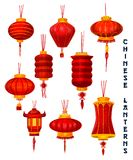 Chinese New Year red paper lanterns royalty free illustration
