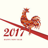 2017 Chinese New Year of the Red Rooster with ornament. Silhouette of red cock with crown. The zodiac symbol. Elements for design. Greeting card and invitation Stock Photos
